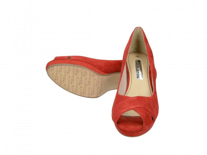 Tamaris dámske kožené lodičky - červené ... 2e7cc0fc2b