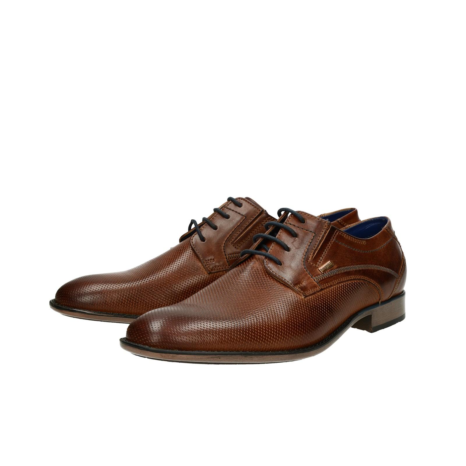 b4e60db3040a Bugatti pánske kožené spoločenské topánky - hnedé ...