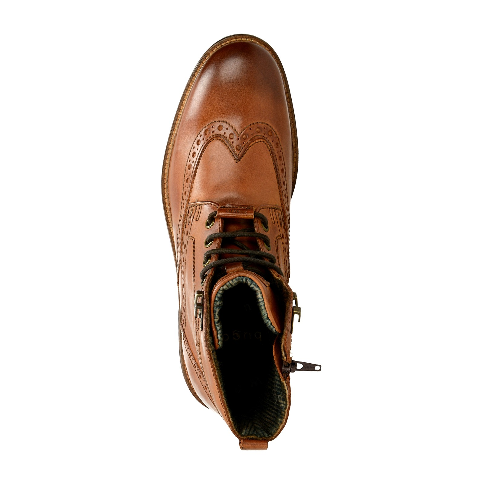Bugatti pánska kožená členková obuv na zips - koňaková ... 3b3ed9b4fea