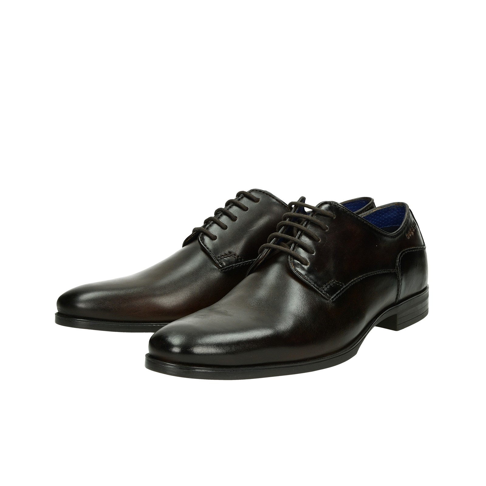 88fe0dfc2833 Bugatti pánske spoločenské kožené topánky - tmavohnedé ...