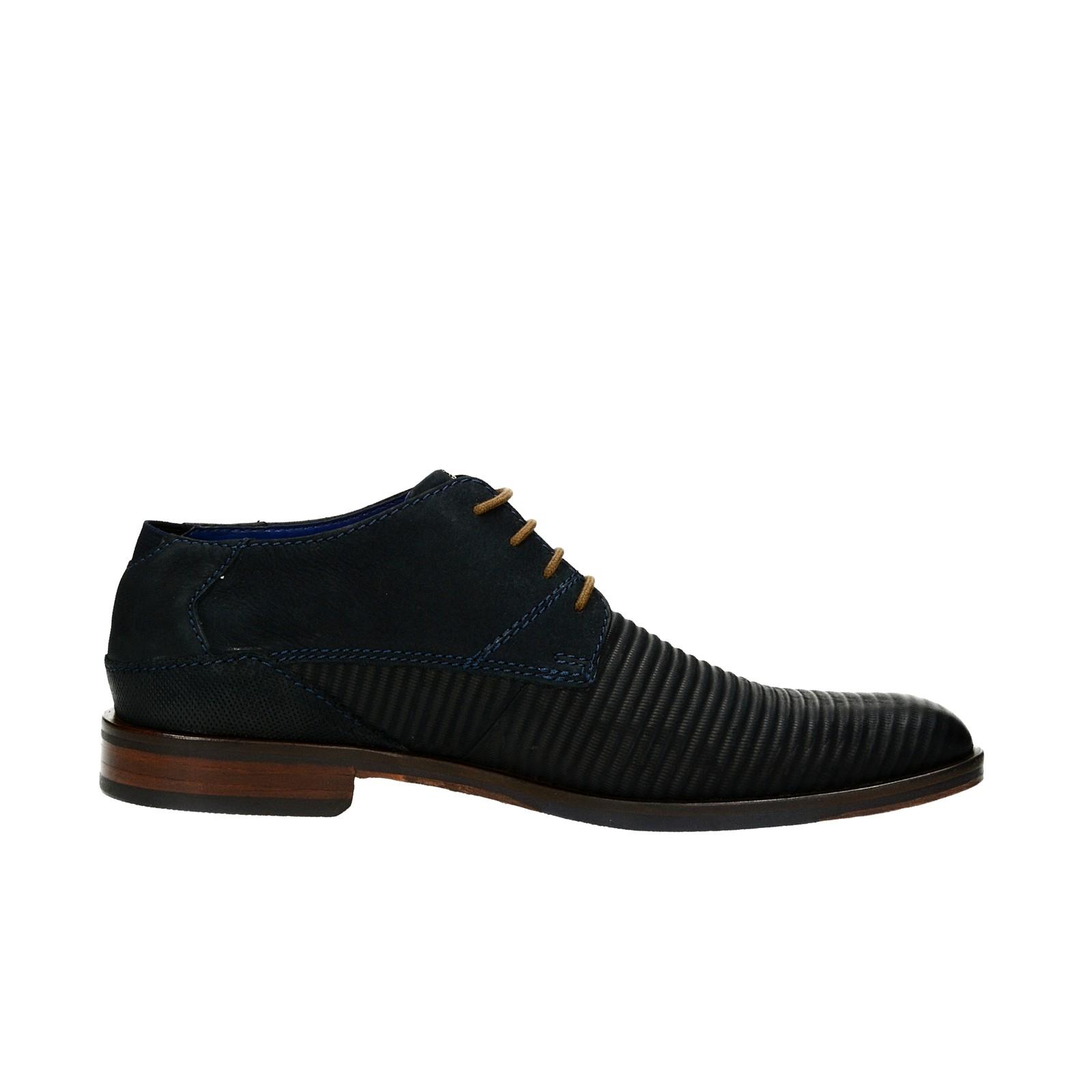 Bugatti pánske kožené spoločenské topánky - tmavomodré