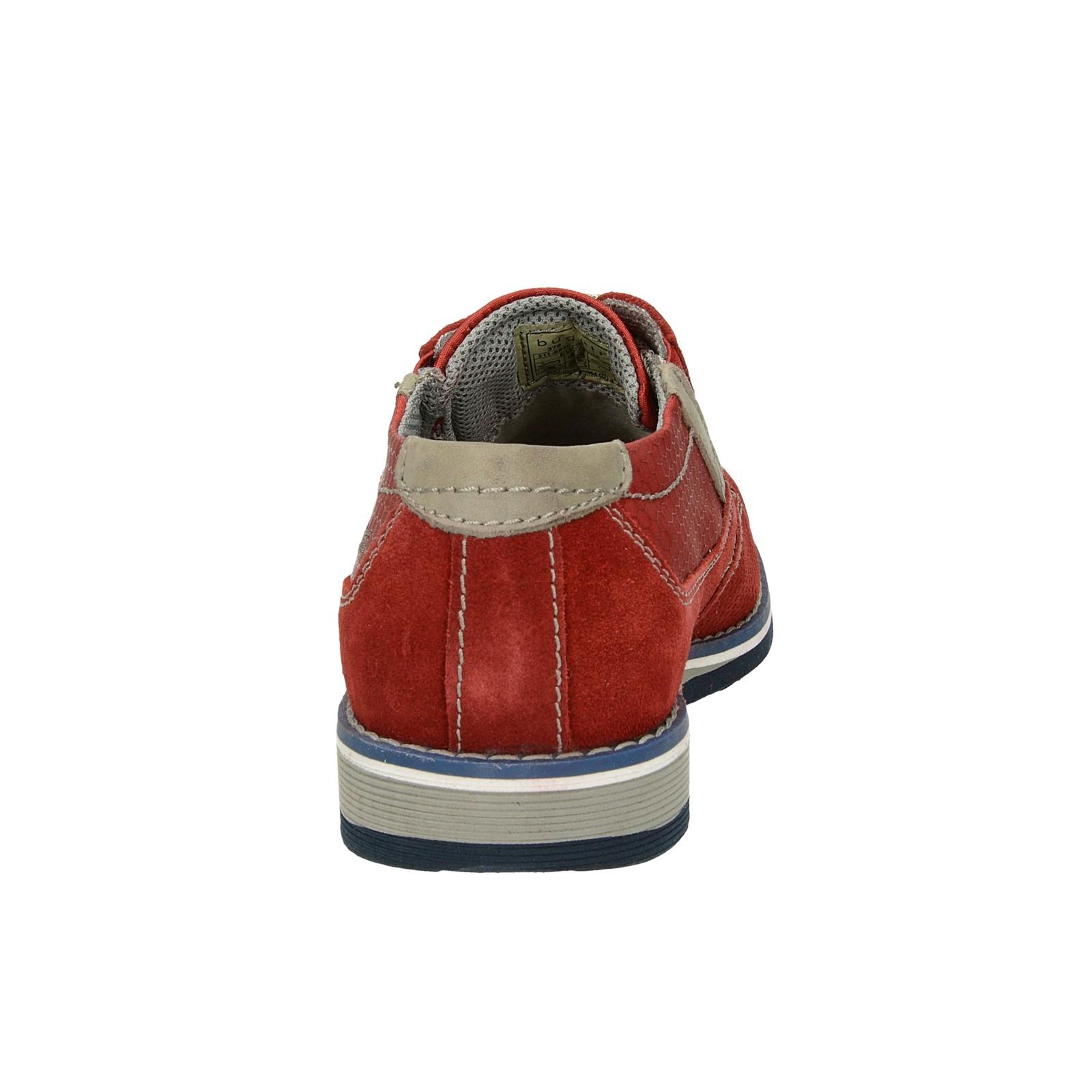 Bugatti pánske štýlové pohodlné poltopánky - červené