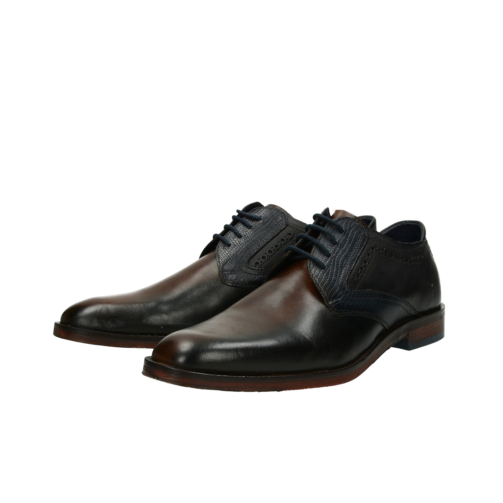 babcae892815 ... Bugatti pánske kožené spoločenské topánky - tmavohnedé ...