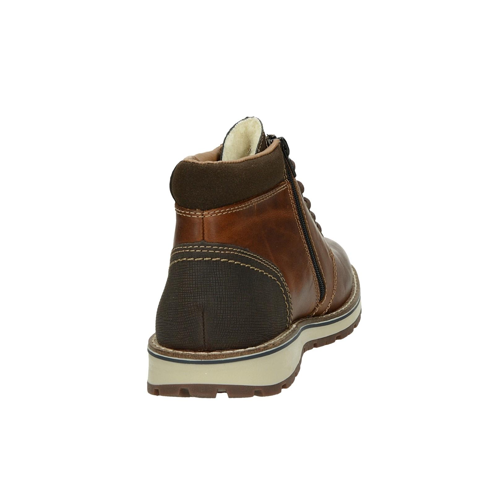Rieker pánska kožená zateplená členková obuv - hnedá