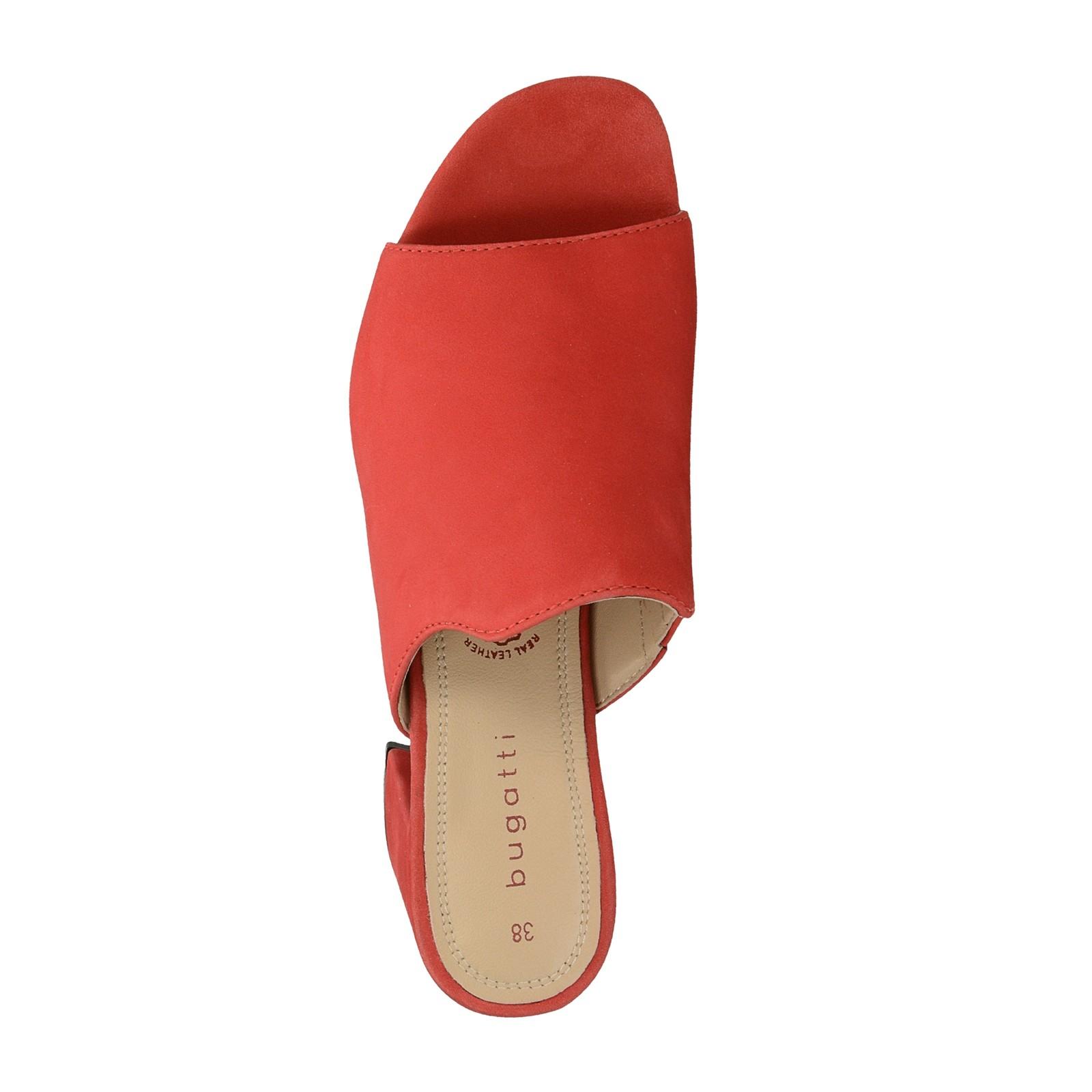 Bugatti dámske štýlové nubukové šľapky - červené