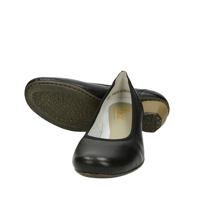 Rieker dámske pohodlné lodičky na nízkom podpätku - čierne