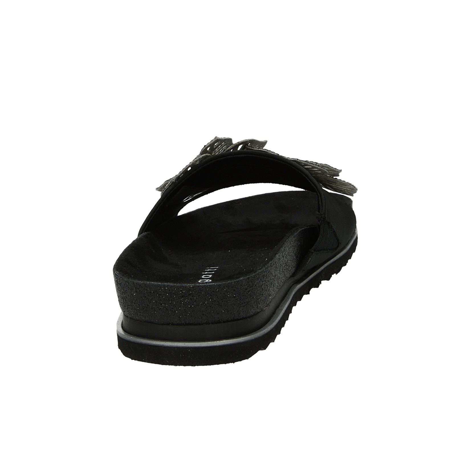 Bugatti dámske štýlové šľapky s ozdobnými kamienkami - čierne
