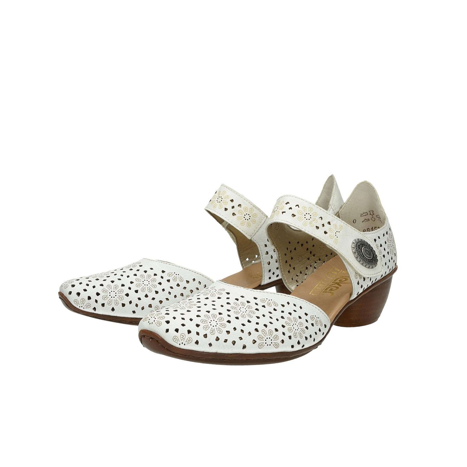 e06ed2d8a9f9 Rieker dámske kožené perforované sandále - biele ...