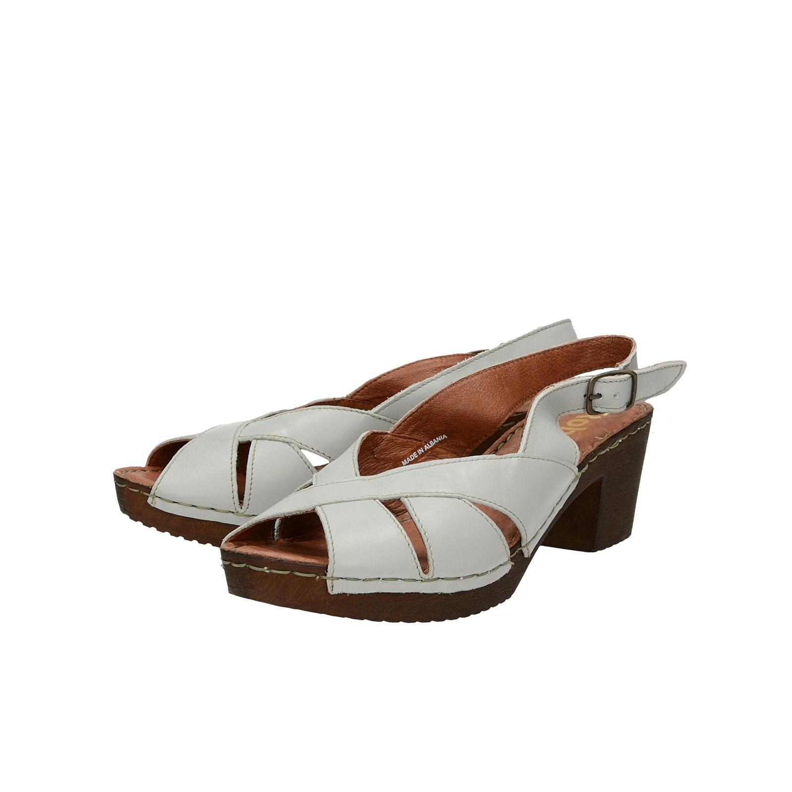 4d756a91938c4 Robel dámske kožené sandále na podpätku - šedé | 5113635-GRIGIO www ...