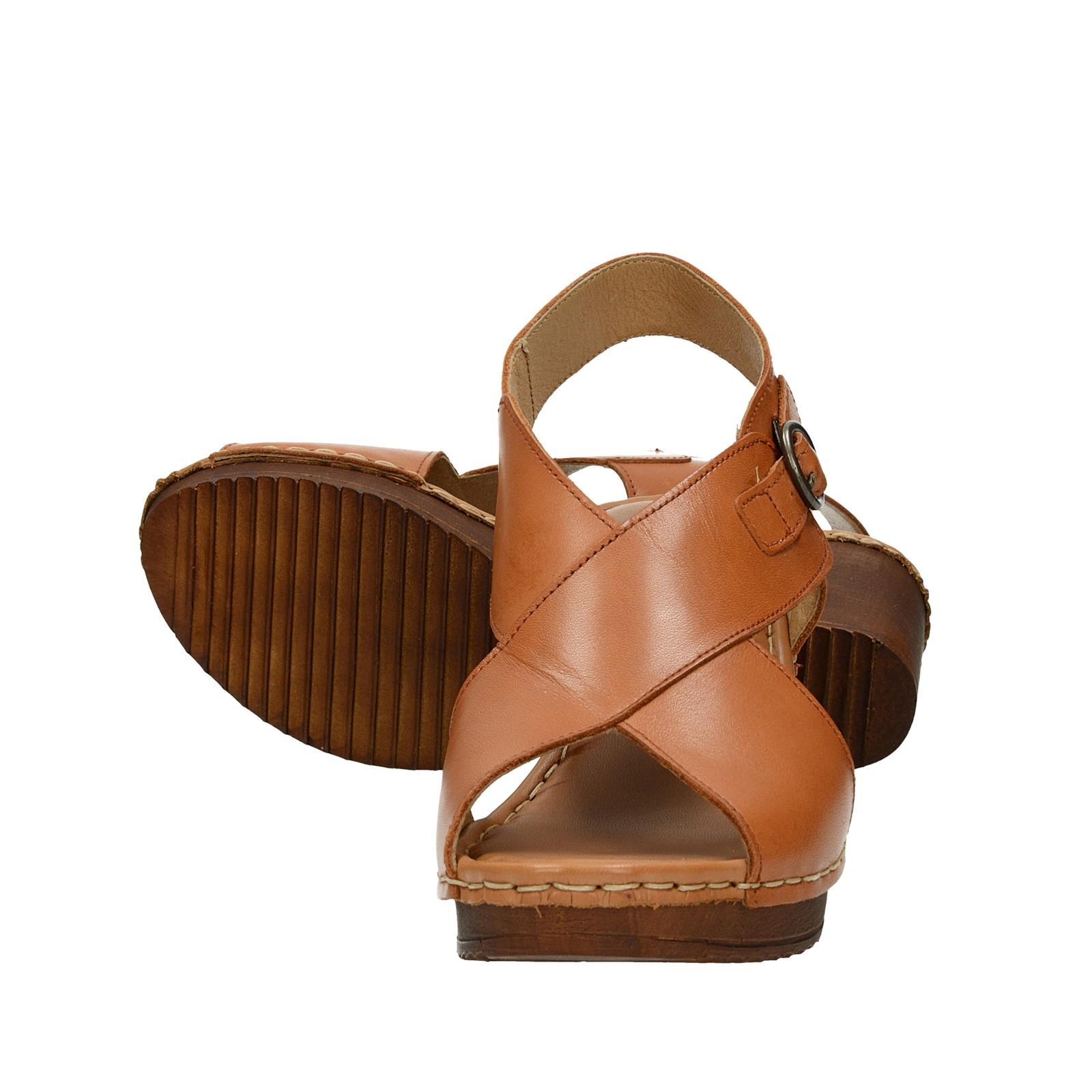Ten Points dámske kožené sandále na podpätku - koňakové