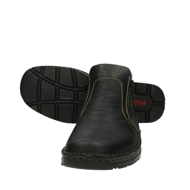 Rieker pánske kotníky na zips - čierne