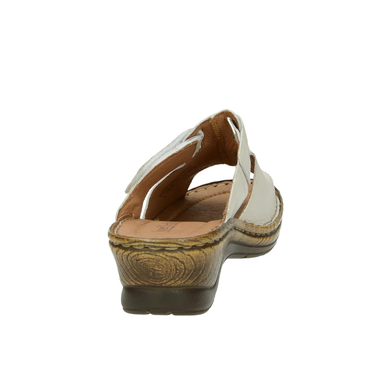Josef Seibel dámske kožené šľapky na suchý zips - biele