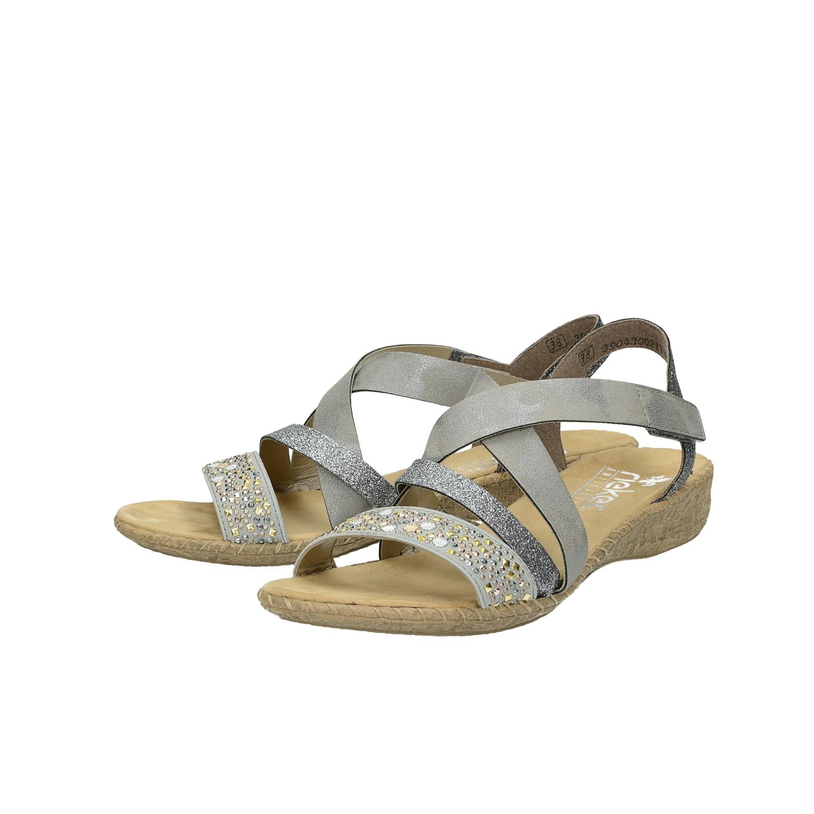 704897c0de1f Rieker dámske štýlové sandále s ozdobnými prvky - šedé ...