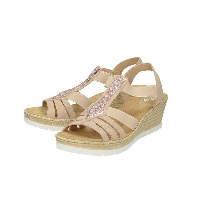7d7e492f5f6a ... Rieker dámske štýlové sandále - ružové ...