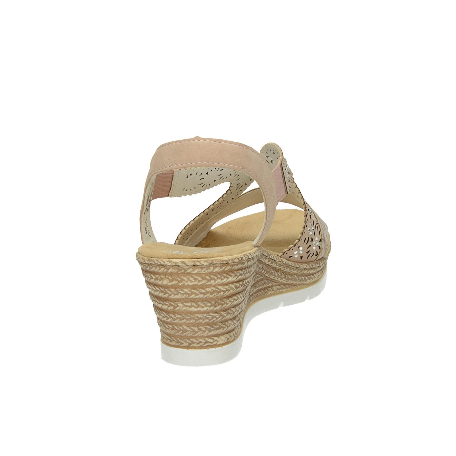 cafbf2249dff3 ... Rieker dámske štýlové sandále na klinovej podrážke - ružové ...