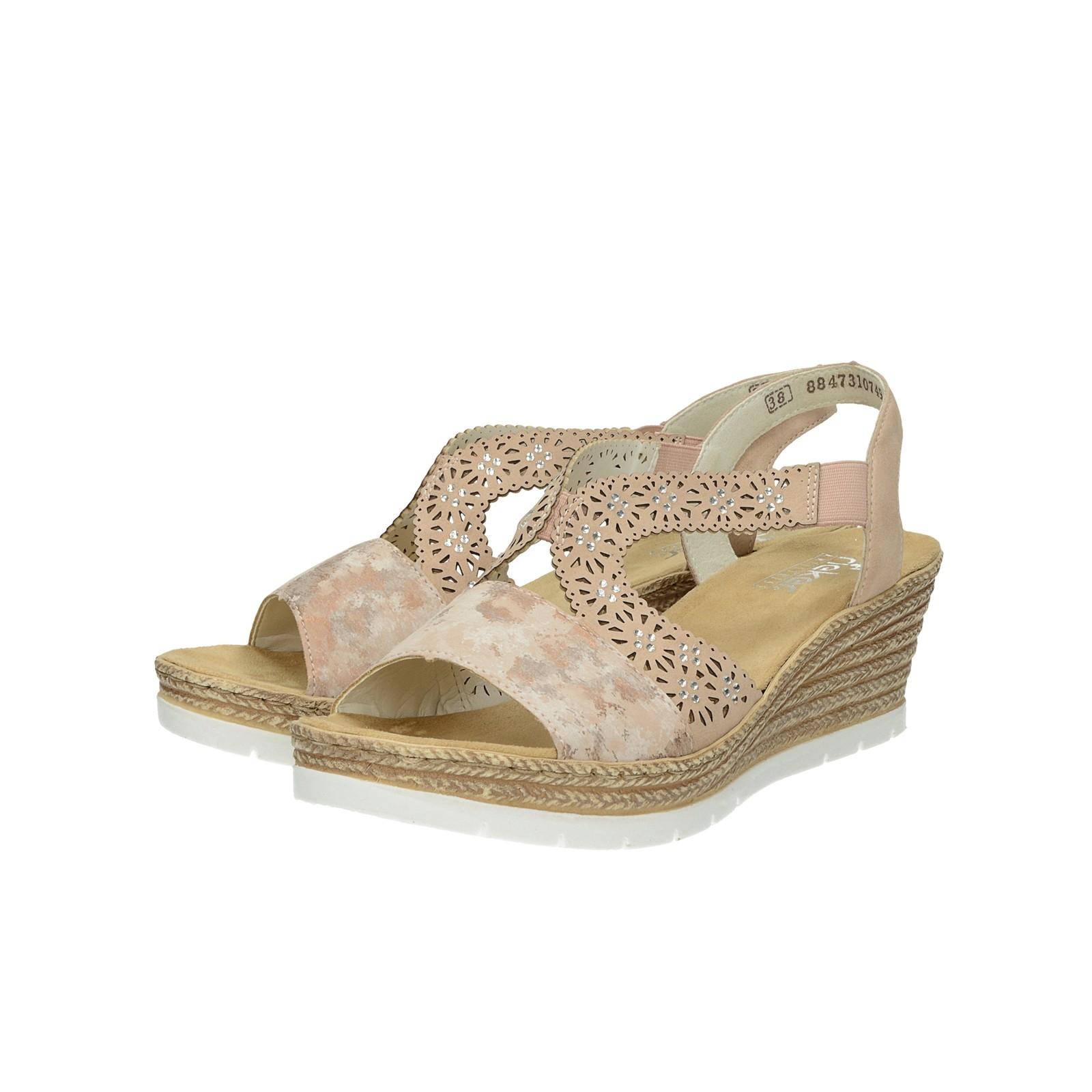 1cec8926a79e4 Rieker dámske štýlové sandále na klinovej podrážke - ružové ...