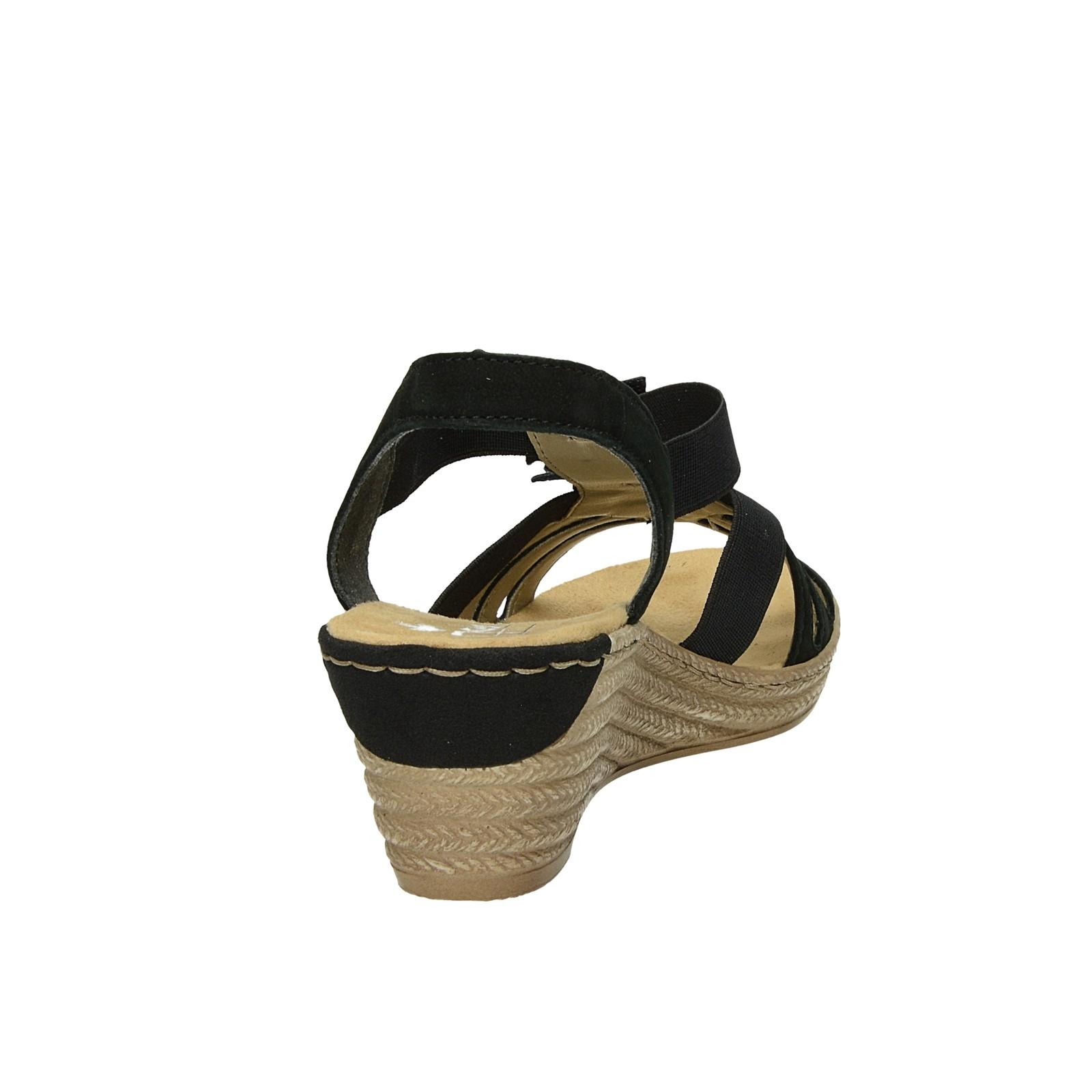 1230f00e1d63 ... Rieker dámske pohodlné sandále na klinovej podrážke - čierne ...