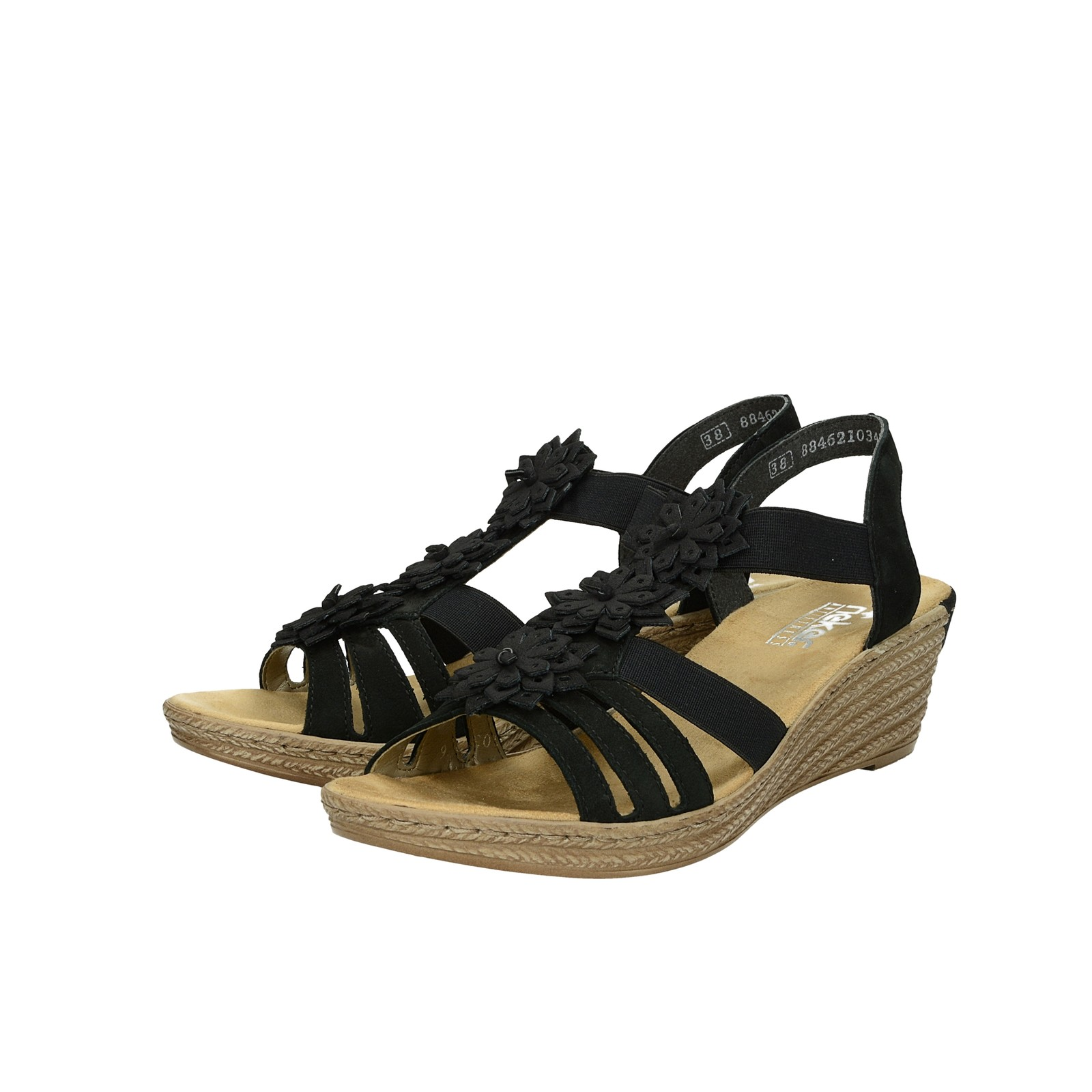1af8f9cc2150 Rieker dámske pohodlné sandále na klinovej podrážke - čierne ...