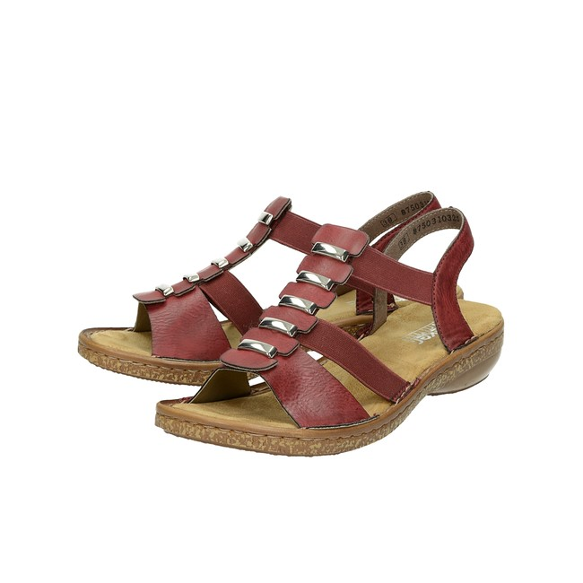 bd3abc8abf19 ... Rieker dámske pohodlné sandále - bordové ...