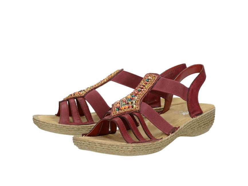6c56511745be Rieker dámske štýlové sandále s ozdobnými prvkami - bordové ...