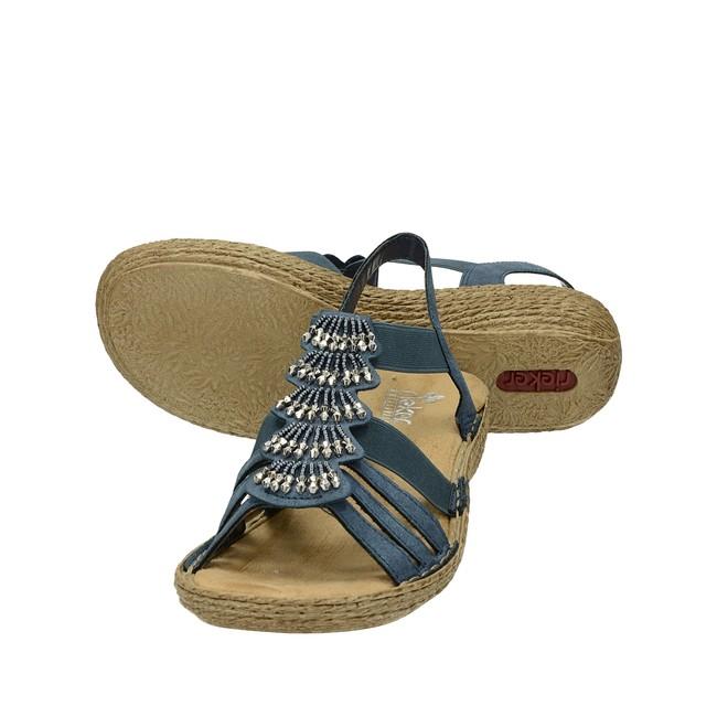 913b92be5f49 ... Rieker dámske elegantné sandále s ozdobnými prvkami - modré ...
