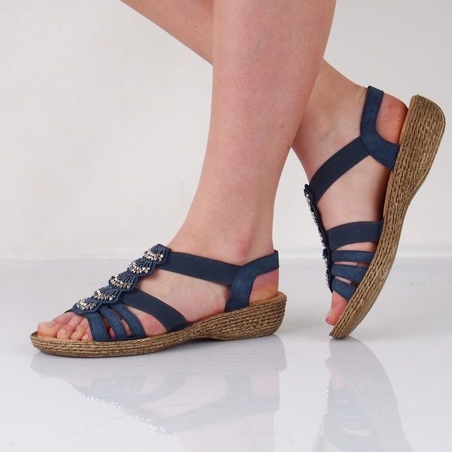 4b0bed86c46b Rieker dámske elegantné sandále s ozdobnými prvkami - modré ...