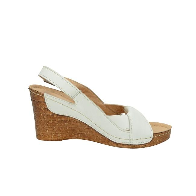 Pollonus dámske kožené sandále na klinovej podrážke - biele ... 68077cf37d1