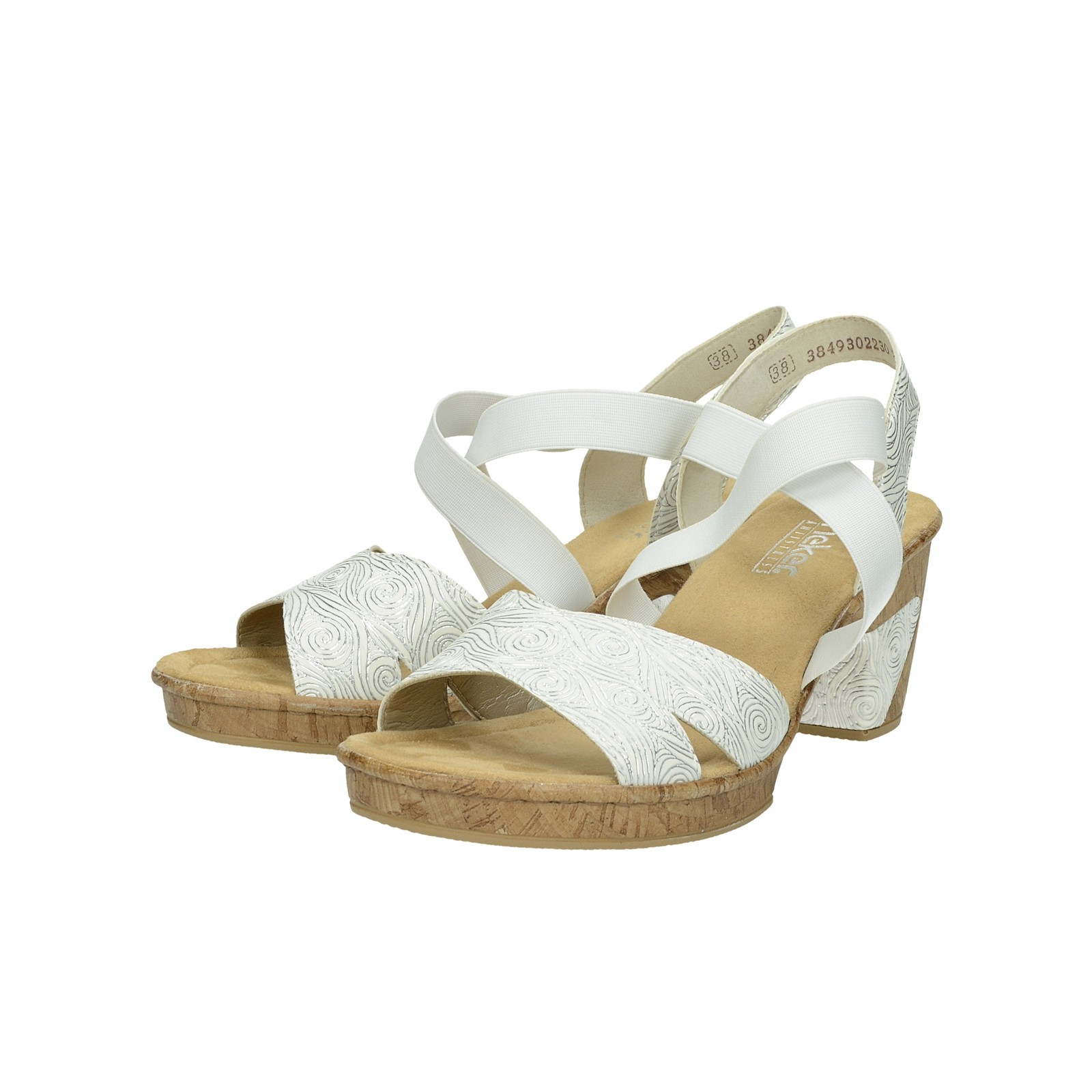 81a4e4370 Rieker dámske štýlové sandále na podpätku - biele | 6972080-WHT www ...