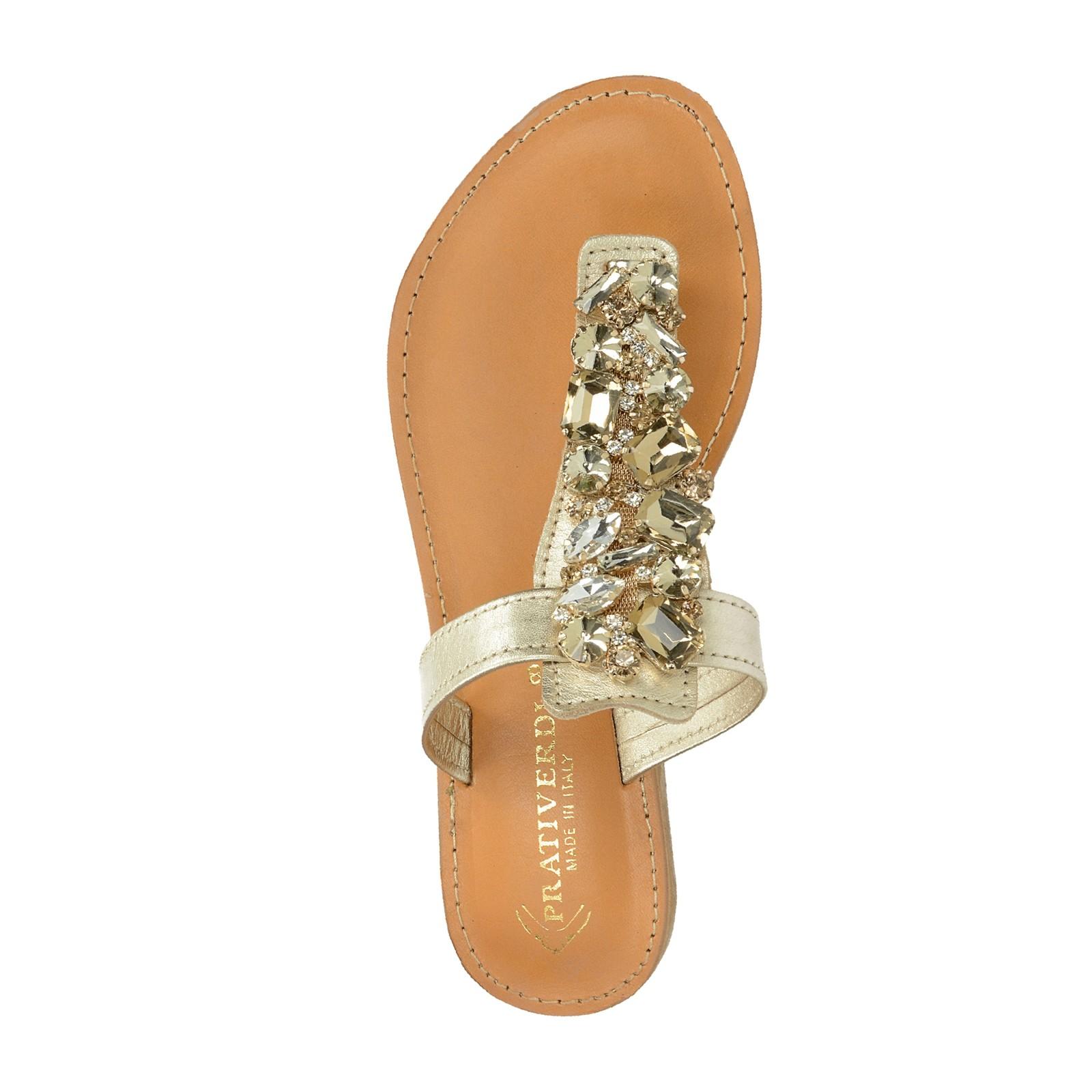 Prativerdi dámske elegantné plážovky s ozdobnými kamienkami - zlaté