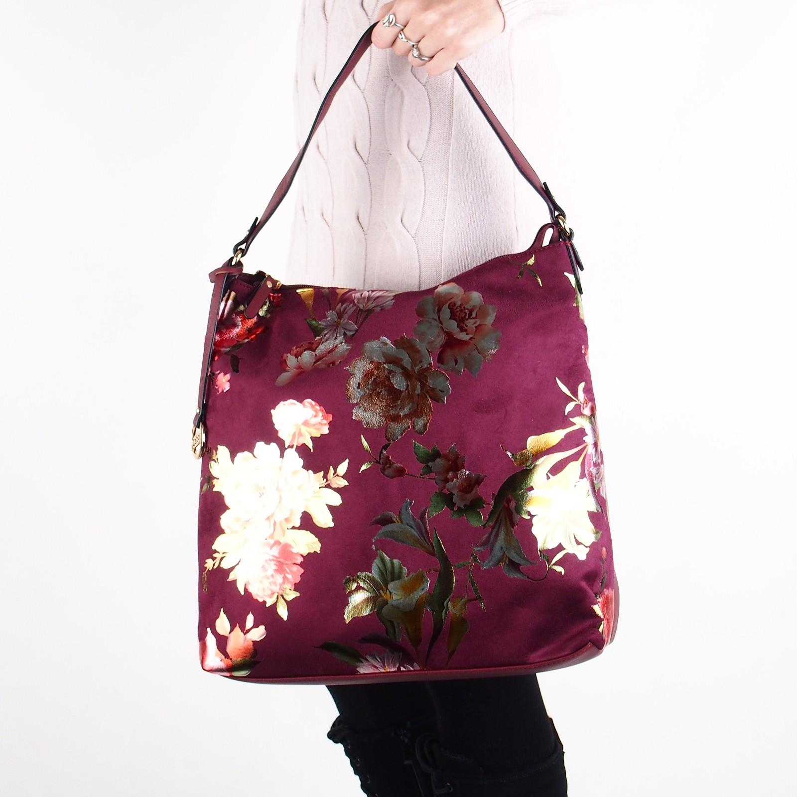c35e1c62ea Gabor dámska štýlová kabelka s kvetovým vzorom - bordová ...