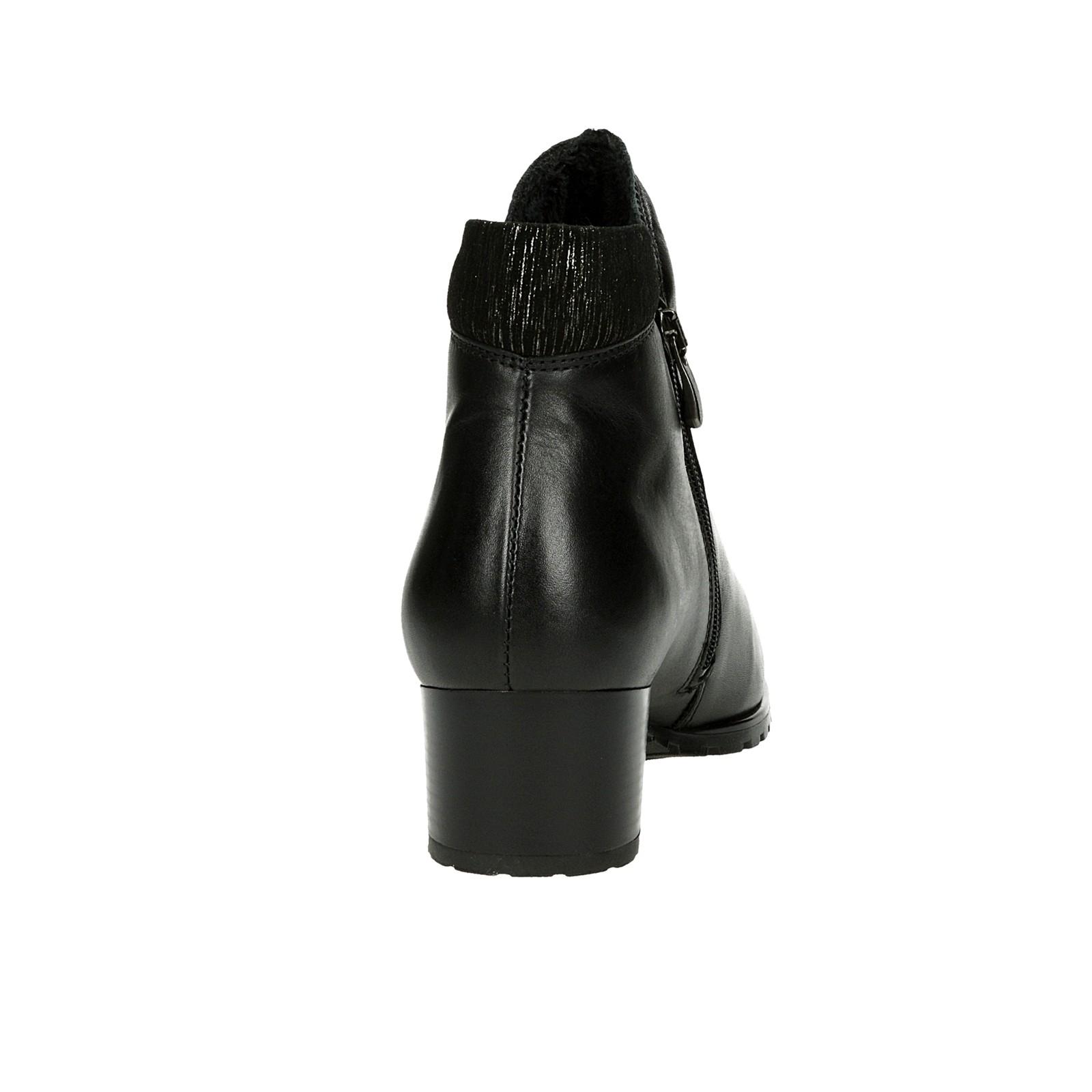 Alpina dámske kožené kotníky na zips - čierne
