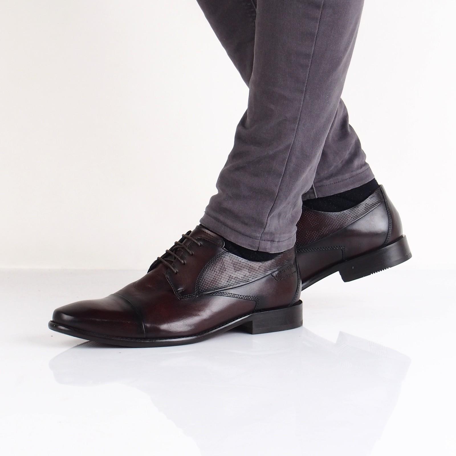 53ccd6190461 Daniel Hechter pánske kožené spoločenské topánky - tmavohnedé ...