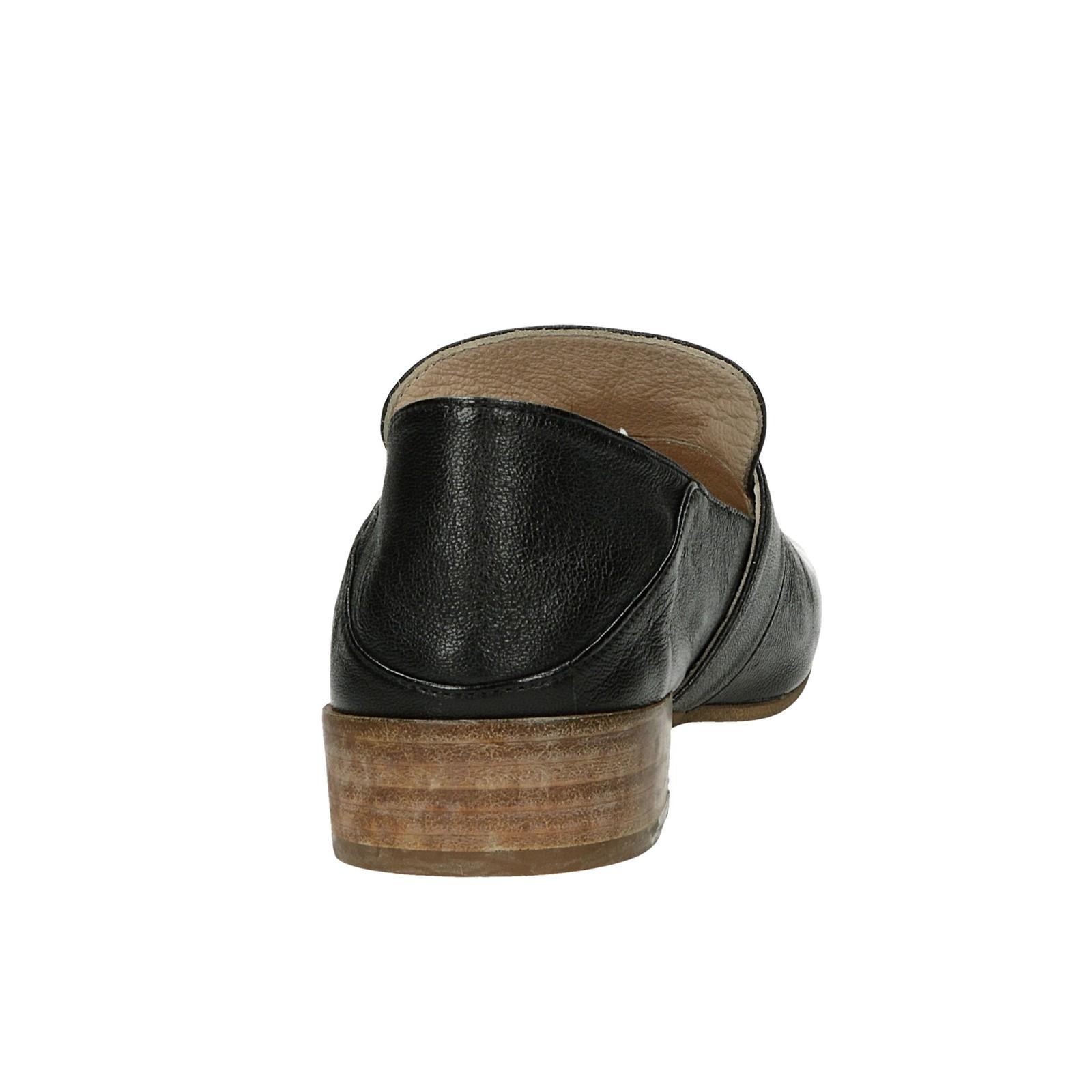 Relance dámske kožené poltopánky - čierne