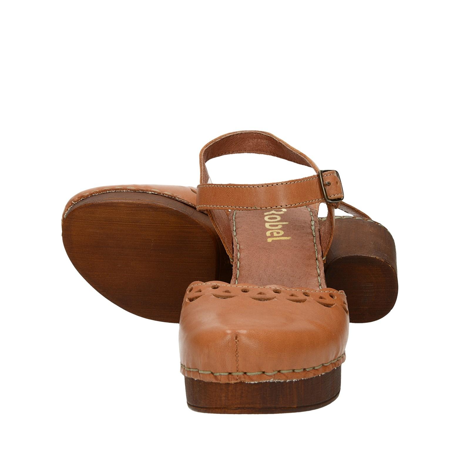 b0ca1cd2f221 ... Robel dámske kožené sandále na podpätku - hnedé ...