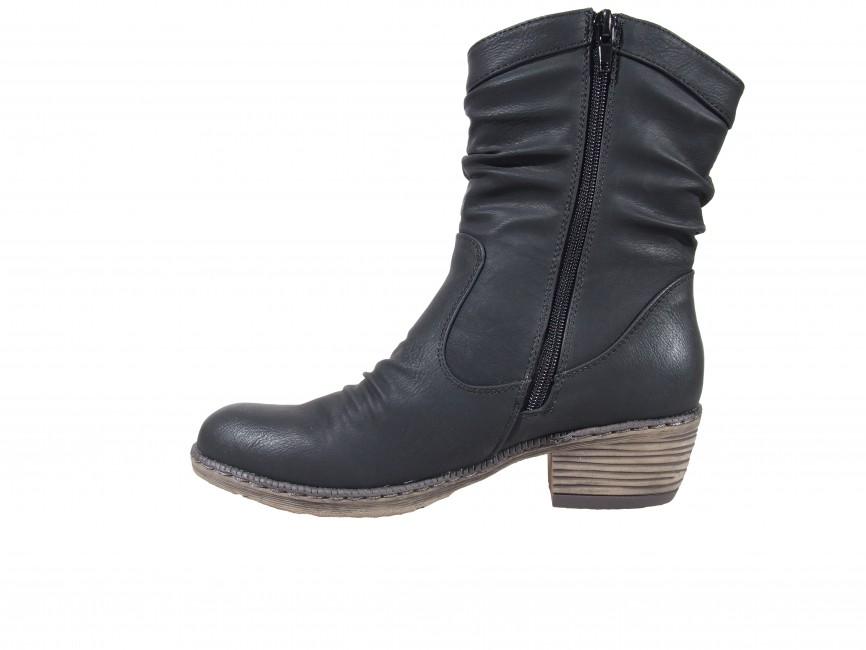 Rieker dámske nízke čižmy s nakrčeným materiálom - čierne ... 062e8cde10c