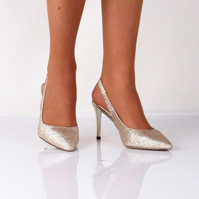 Menbur dámske spoločenské trblietavé sandále - zlaté ... 58d0031b289