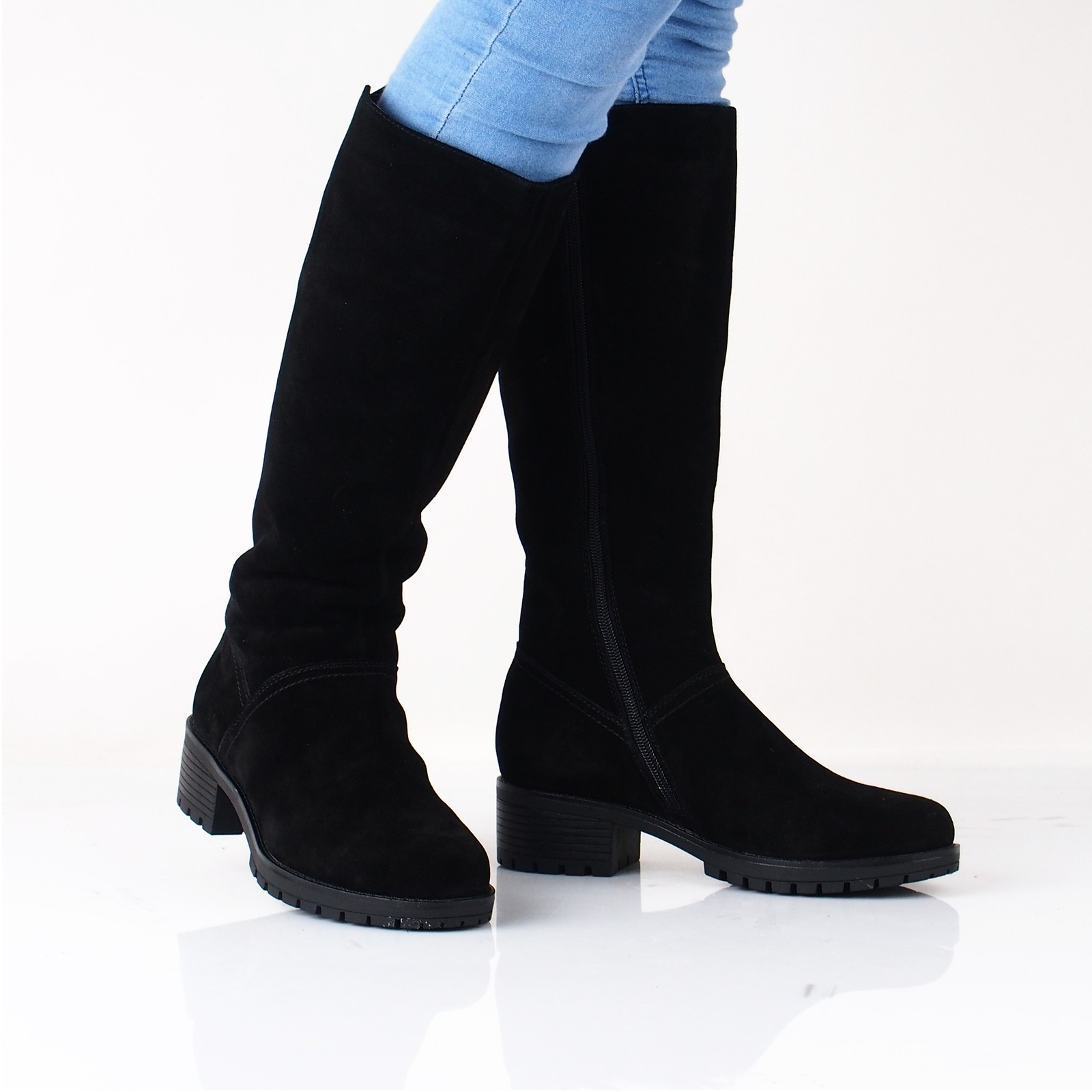 2b727ec1dd69 Rieker dámske semišové čižmy na zips - čierne ...