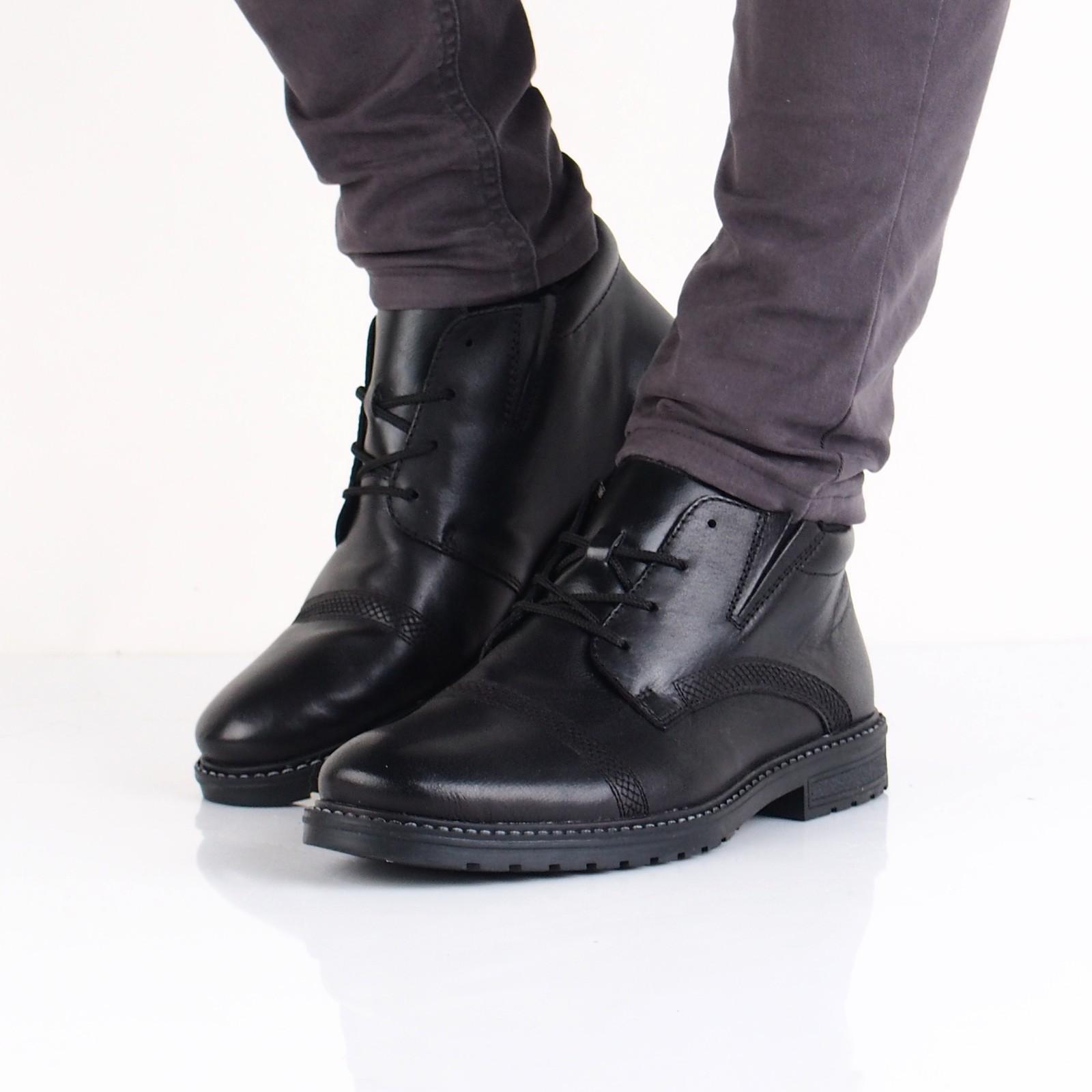 Rieker pánska kožená zateplená členková obuv - čierna