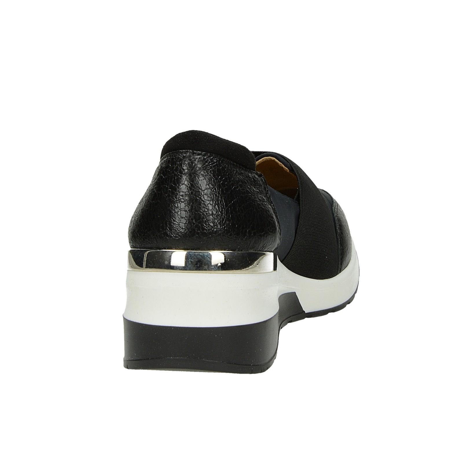 Olivia shoes dámske štýlové poltopánky na klinovej podrážke - čierne