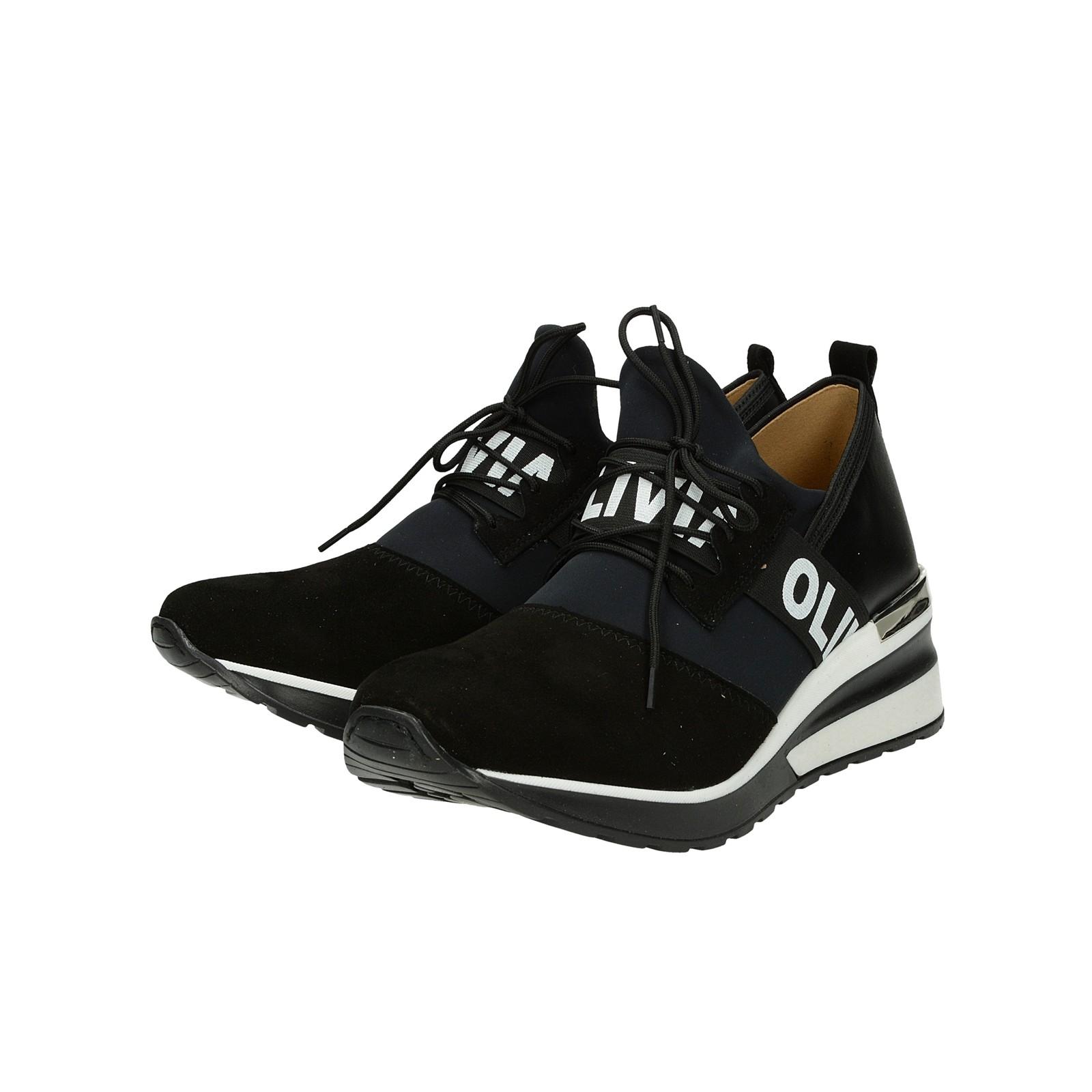bb2f5d048a ... Olivia shoes dámske kožené tenisky na klinovej podrážke - čierne ...