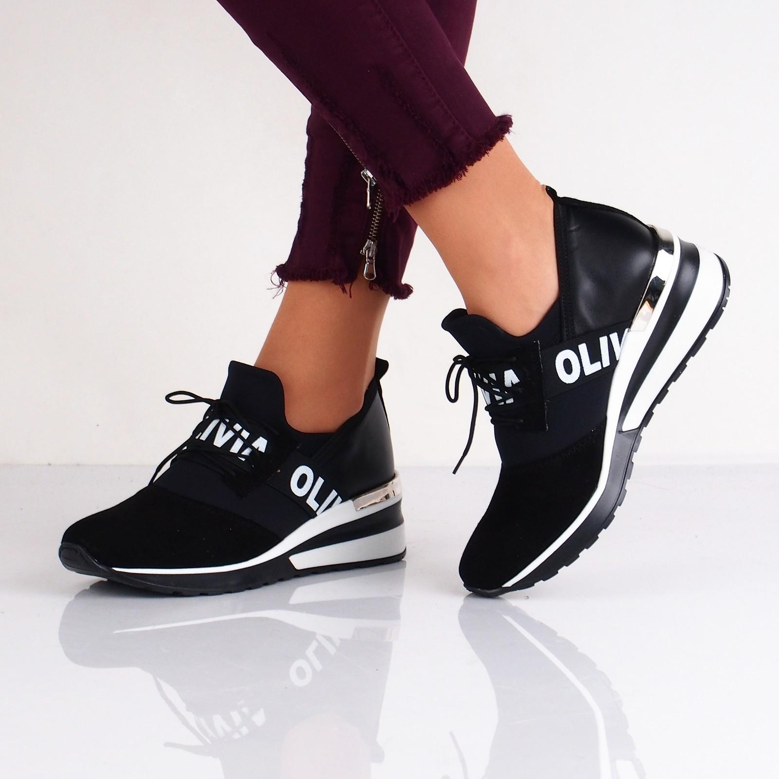 f2ea8ff28c08 Olivia shoes dámske kožené tenisky na klinovej podrážke - čierne ...