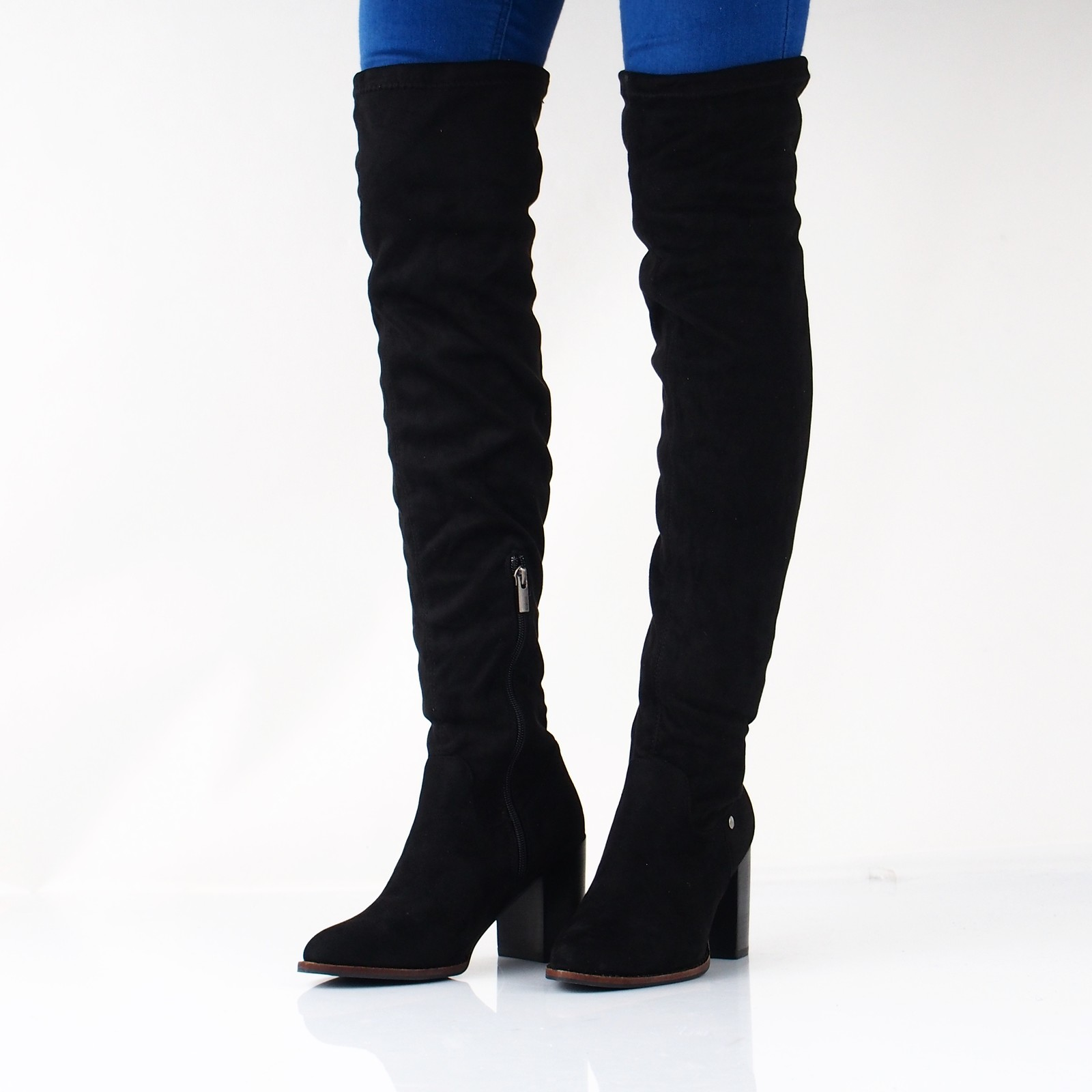 Big Star dámske textilné vysoké čižmy - čierne ... 29960f09dbd