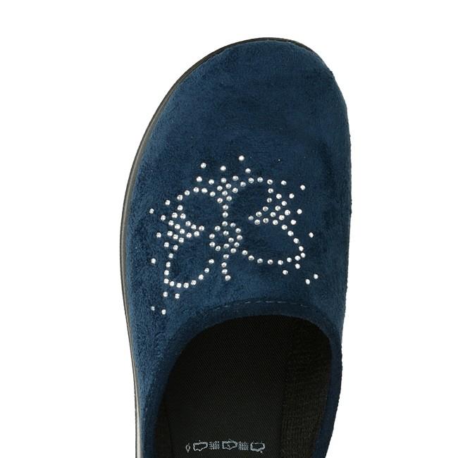 Inblu dámska domáca obuv s ozdobnými kamienkami - modrá