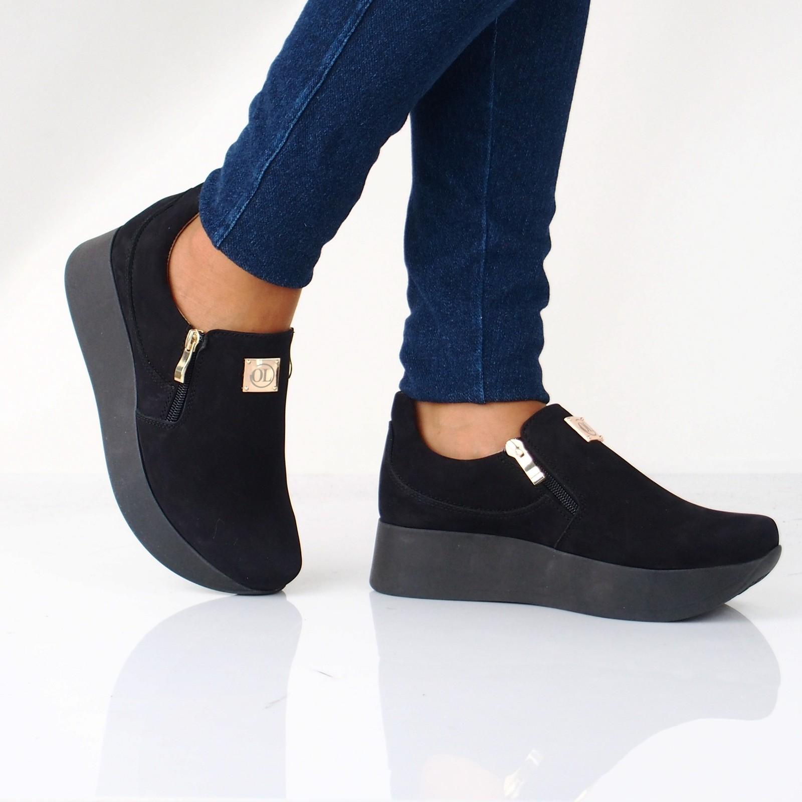8a18522288 Olivia shoes dámske nubukové poltopánky na platforme - čierne ...