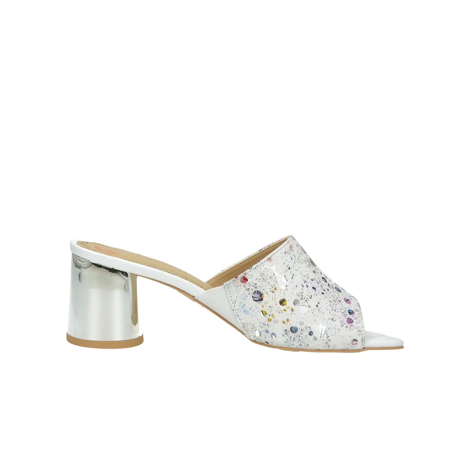 Olivia shoes dámske štýlové šľapky na podpätku - biele