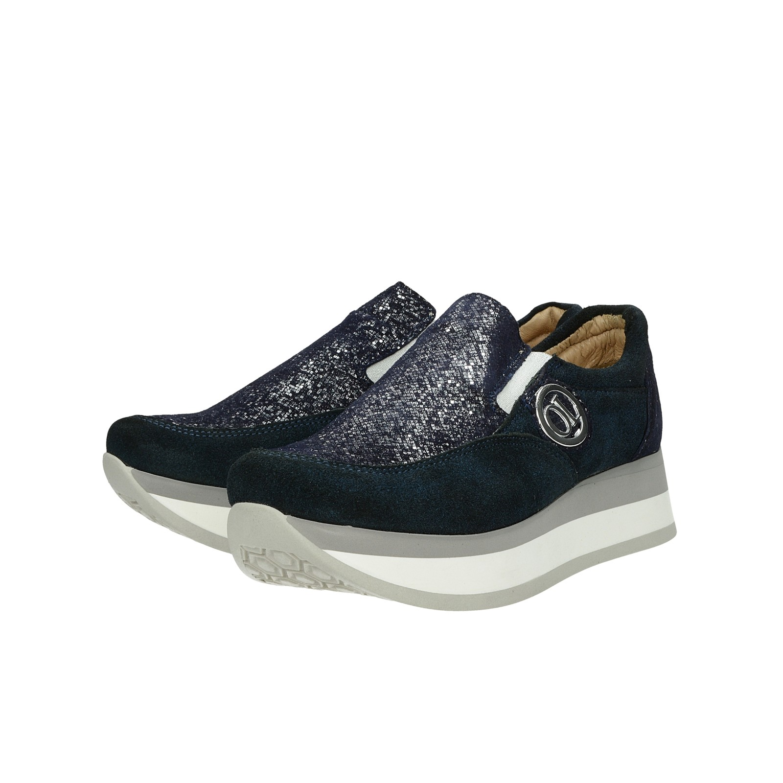 5551591f39ff ... Olivia shoes dámske kožené poltopánky na platforme - tmavomodré ...