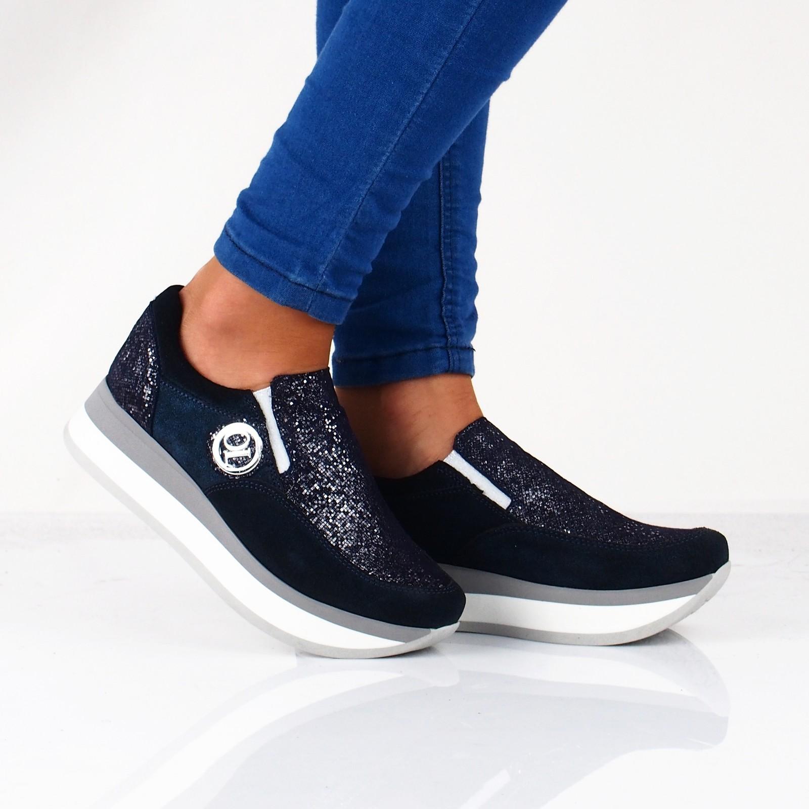 e83d238257e8 Olivia shoes dámske kožené poltopánky na platforme - tmavomodré ...