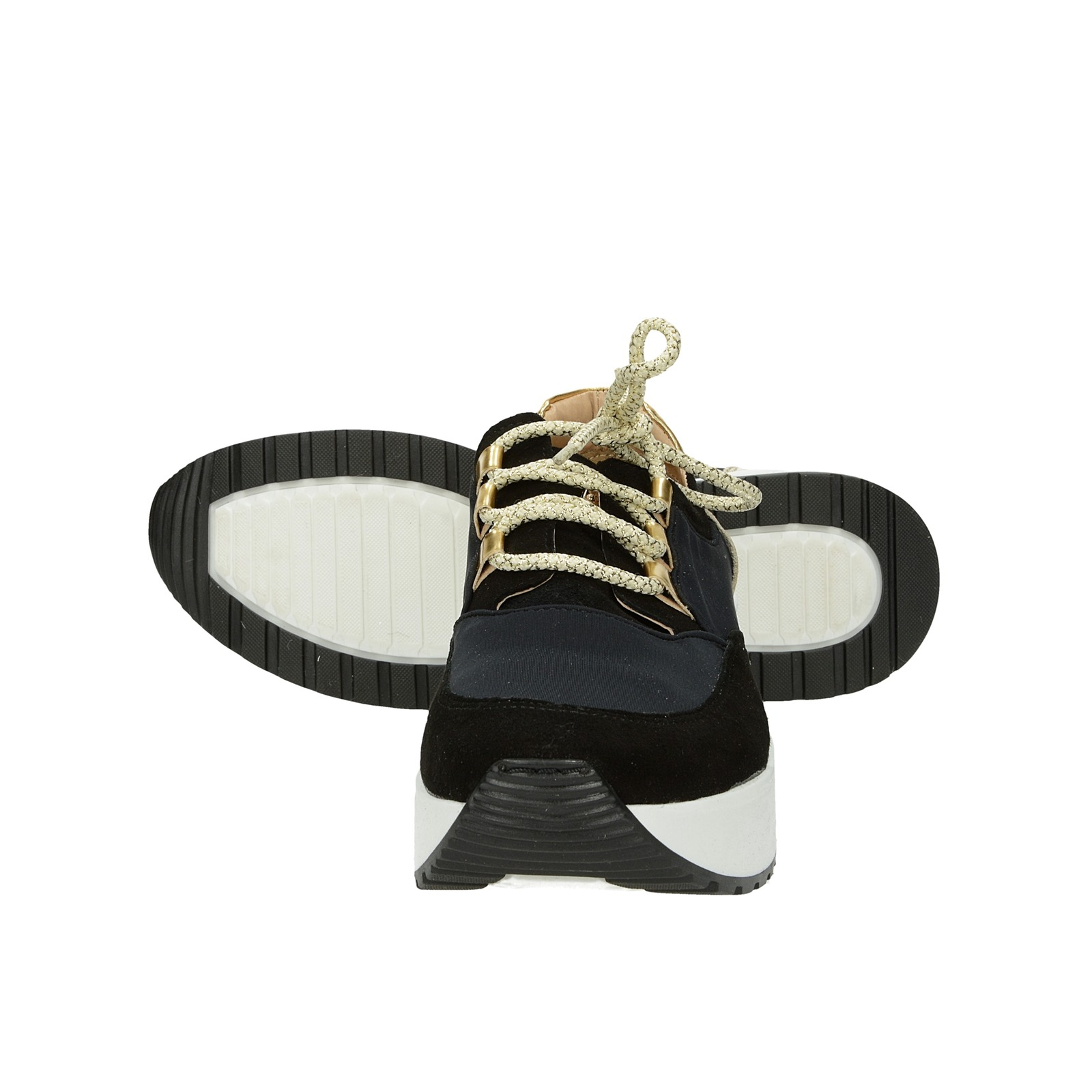 Olivia shoes dámske kožené tenisky na podpatku - čierne
