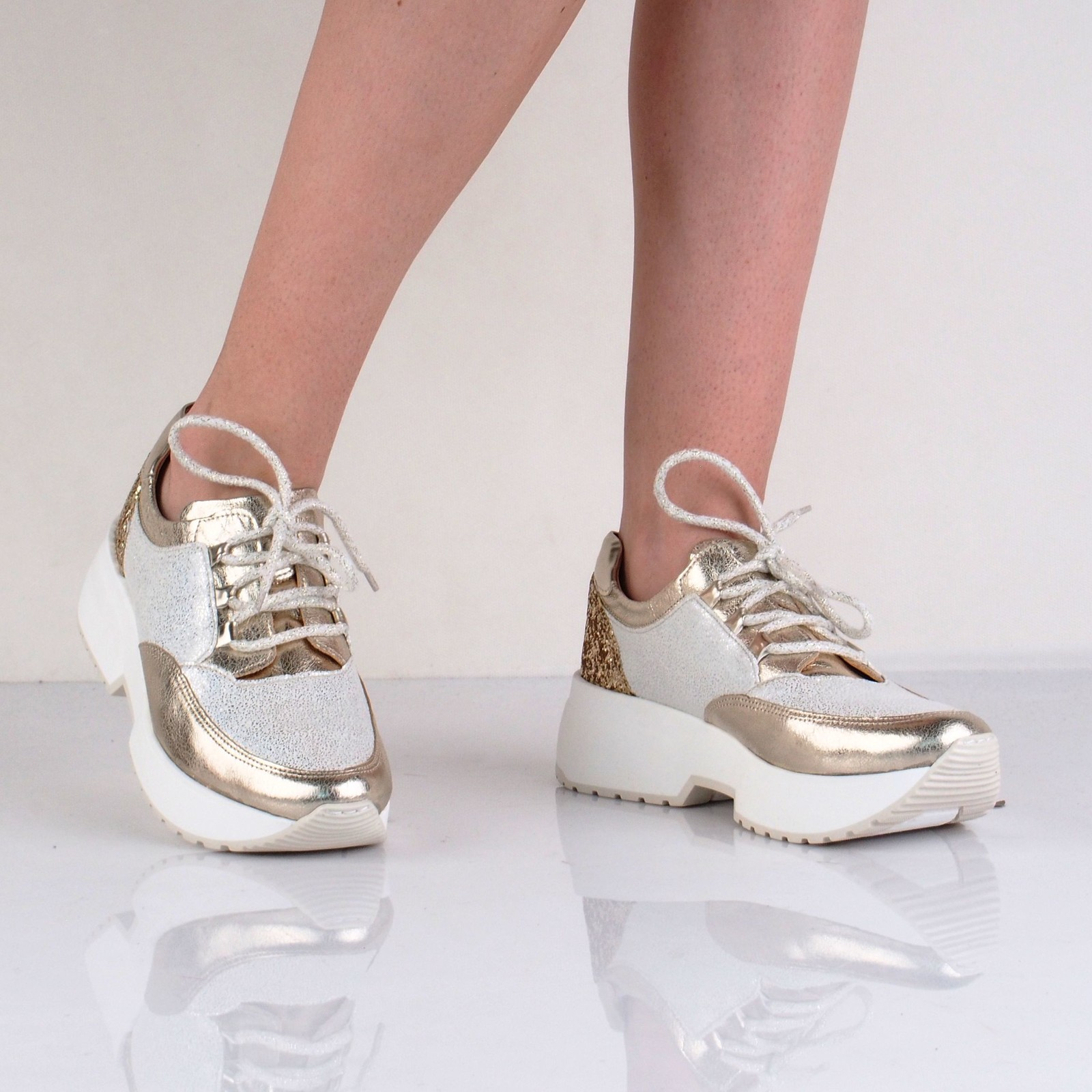 Olivia shoes dámske štýlové tenisky - bielozlaté
