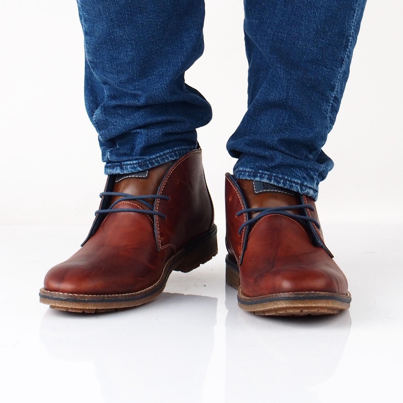 18ed618ba17c Rieker pánska kožená členková obuv - hnedá ...